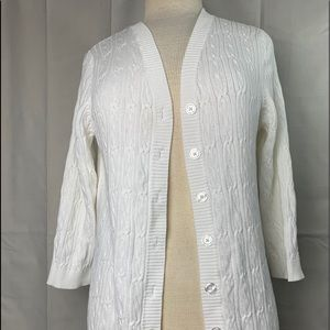 Croft and Barrow Women's White Cardigan Size Large